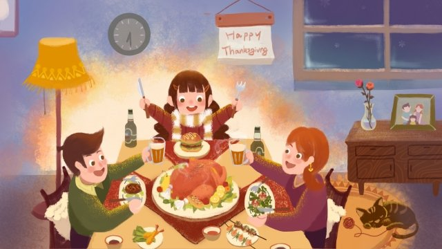 추수 감사절 가족 저녁 따뜻한 칠면조 삽화 소재