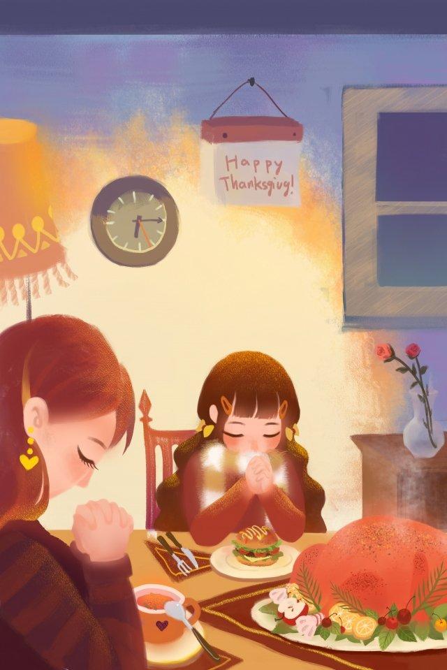 추수 감사절 가족 저녁 따뜻한 칠면조 삽화 이미지