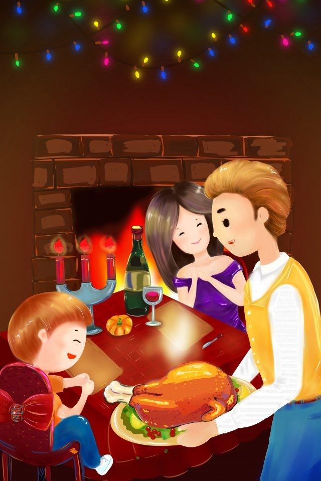 추수 감사절 가족 칠면조 저녁 식사 삽화 소재