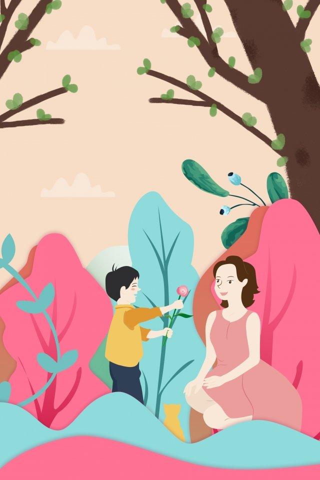 感謝祭イラスト男の子母 イラストレーション画像 イラスト画像