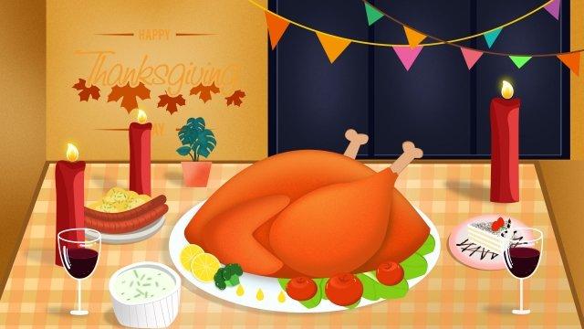 thanksgiving illustration eating chicken dinner warm color, Warm, Dinner, Thanksgiving illustration image