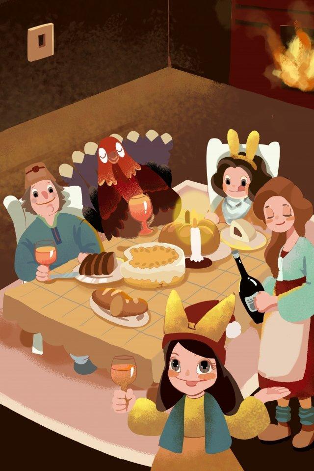 추수 감사절 기쁨 저녁 식사 손으로 그린 삽화 소재