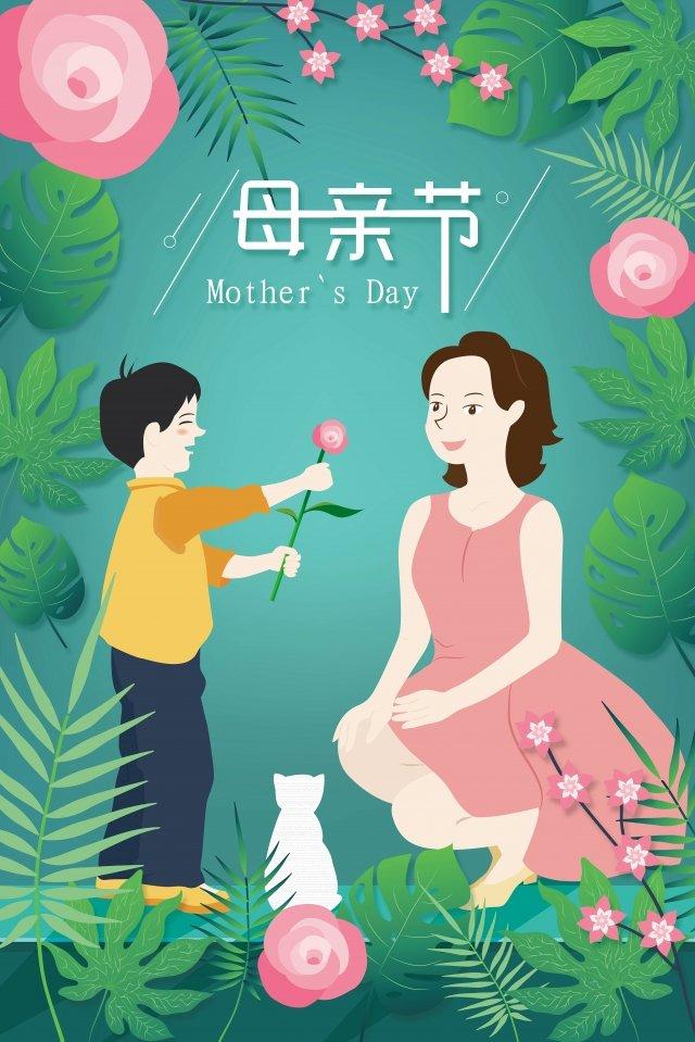 ngày lễ tạ ơn các bà mẹ nhân vật hoạt hình hoa hồng Hình minh họa