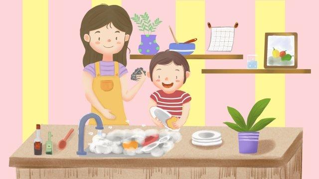 感謝祭の息子の台所がお皿を洗うのを助ける イラスト素材
