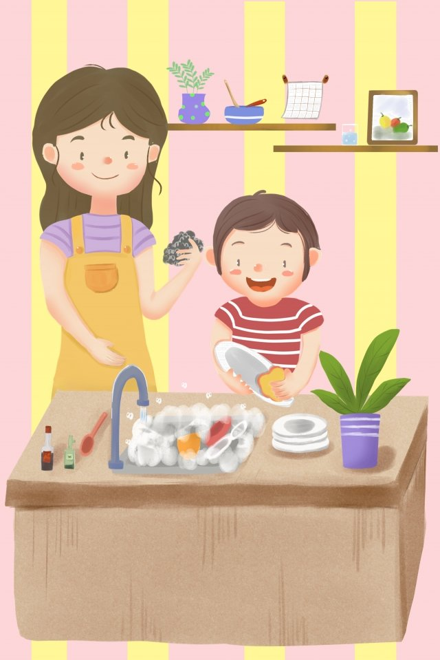thanksgiving son kitchen helping mother wash dishes llustration image