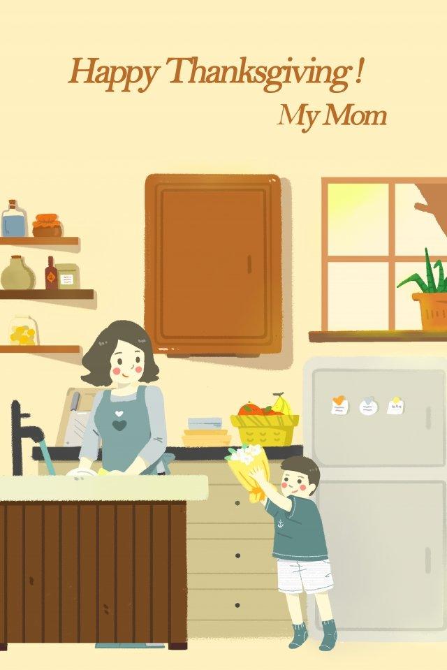 추수 감사절 어머니 엄마 삽화 소재