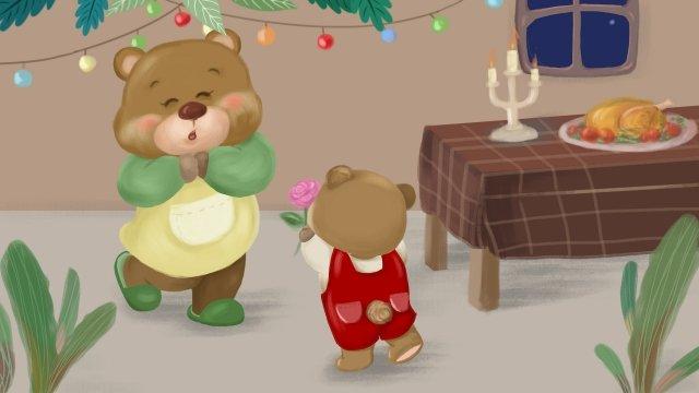 추수 감사절은 엄마 곰에게 감사드립니다 삽화 소재 삽화 이미지