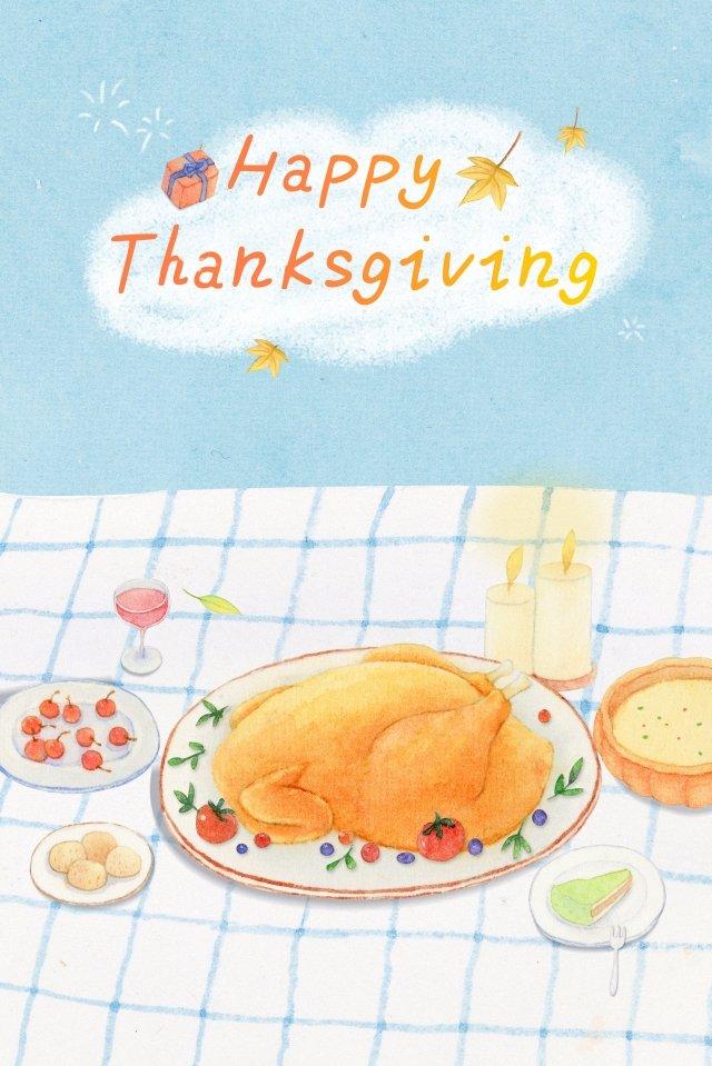 추수 감사절 칠면조 저녁 수채화 축제 삽화 소재 삽화 이미지