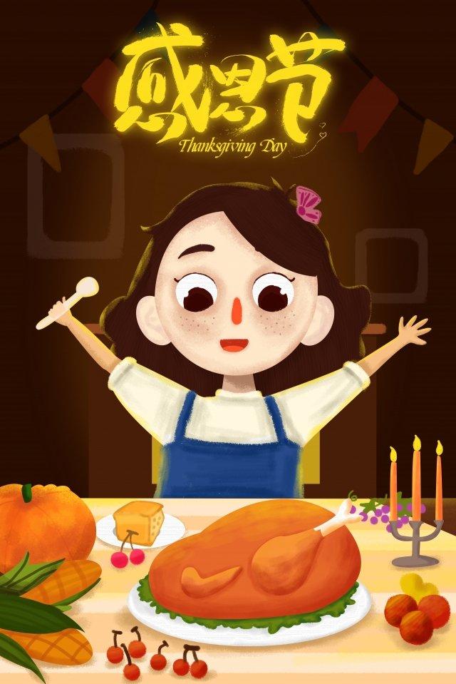 추수 감사절 칠면조 소녀 향연 삽화 소재