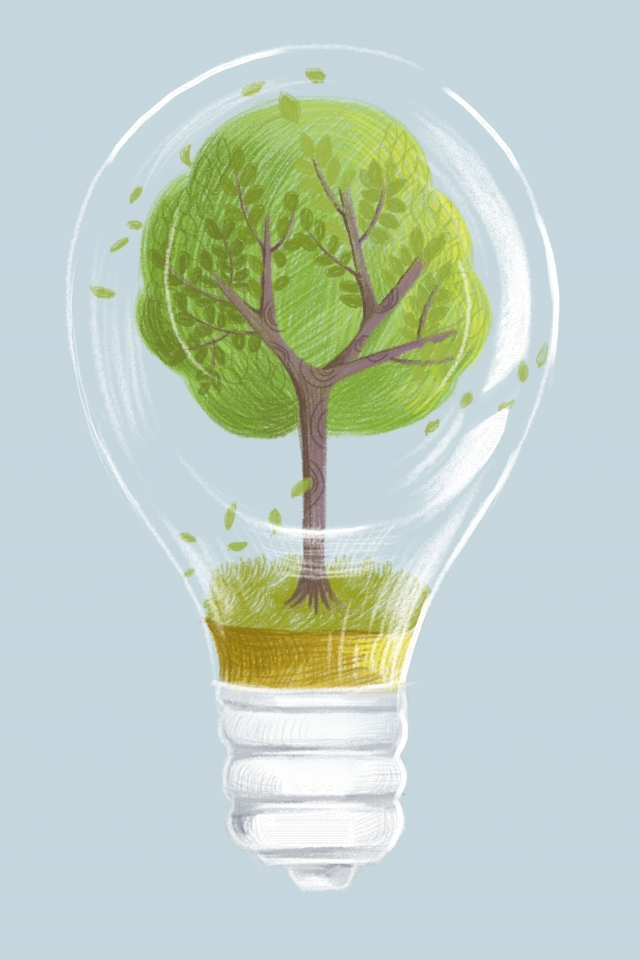 the earth day environmental protection energy saving power generation, Bulb, Hand Painted, Color Lead illustration image