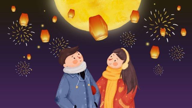 첫 달 커플 커플 사랑 삽화 소재 삽화 이미지