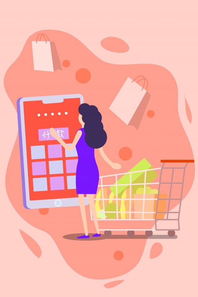 the internet mobile mobile phone ipad, Touch, Woman, Payment illustration image