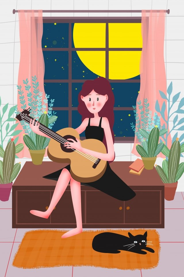 the life of one person playing guitar illustration girl llustration image