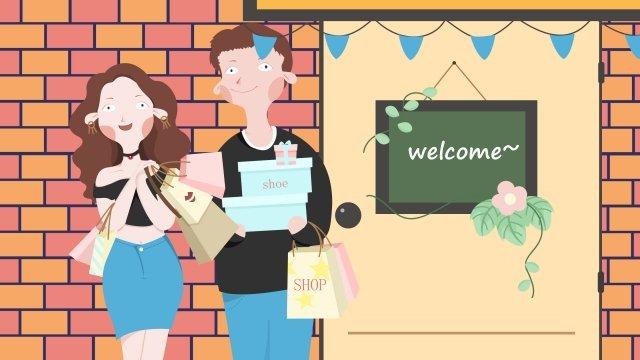 쇼핑몰 커플 쇼핑 기사 삽화 소재 삽화 이미지