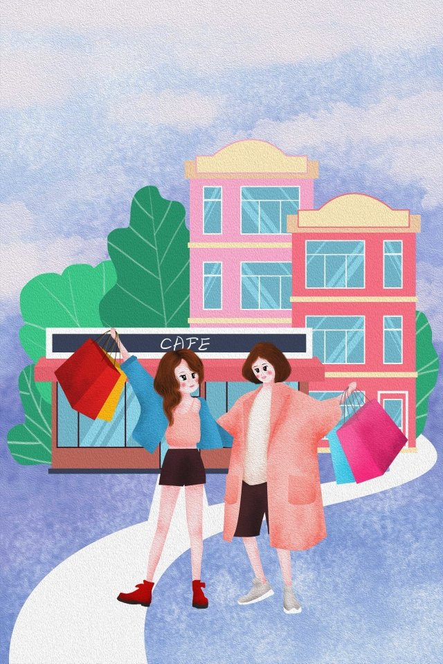 the mall girl purple background house llustration image