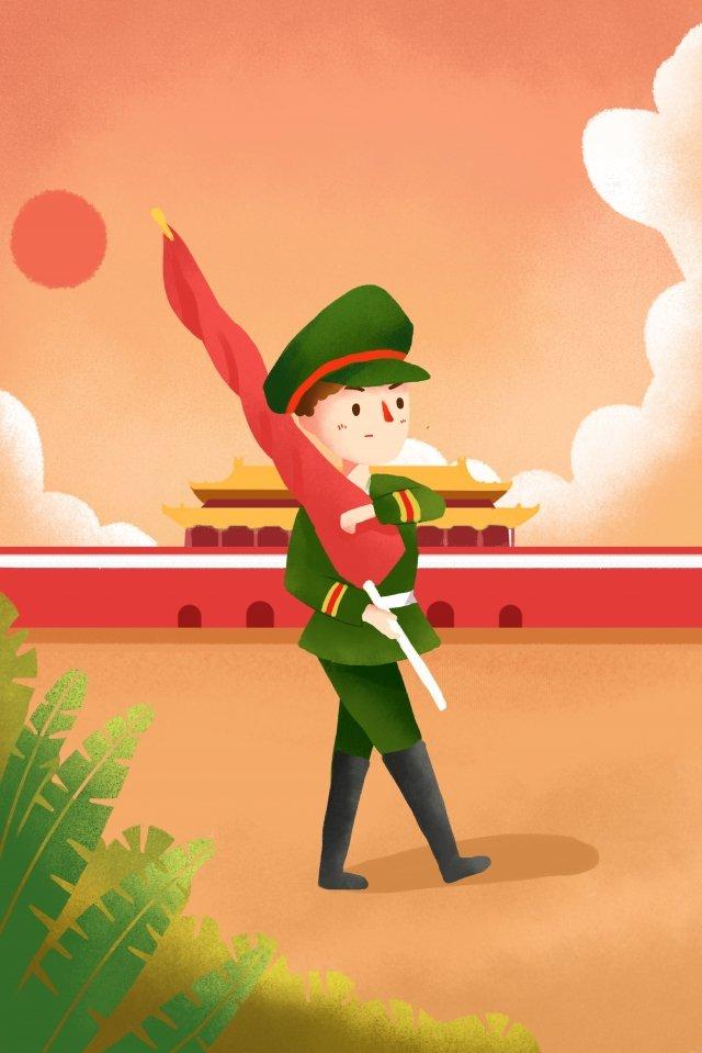 tiananmen square raising the national flag illustration illustration, Plant, Sky, Tiananmen Square illustration image