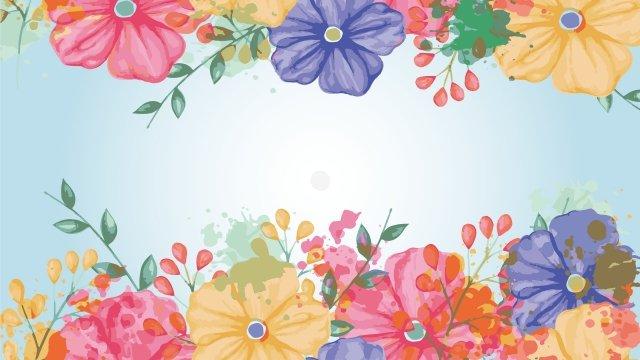 チロの花花の花の絵手描き イラストレーション画像