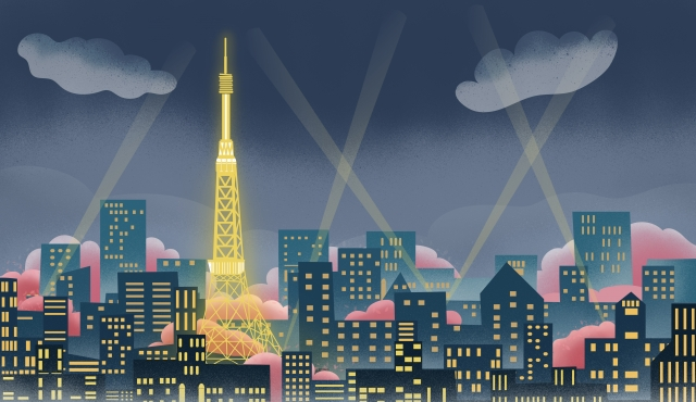 東京タワーシティランドマーク東京桜 イラスト素材 イラスト画像