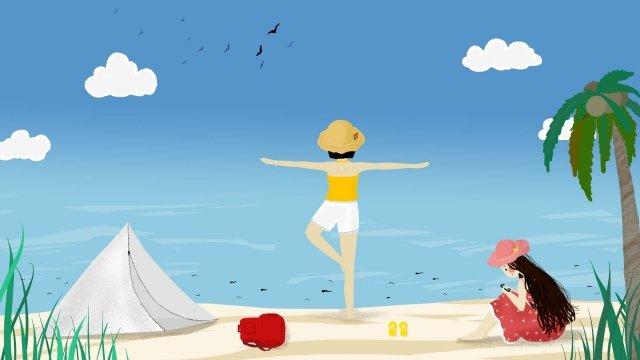 du lịch bãi biển trời xanh mây trắng Hình minh họa