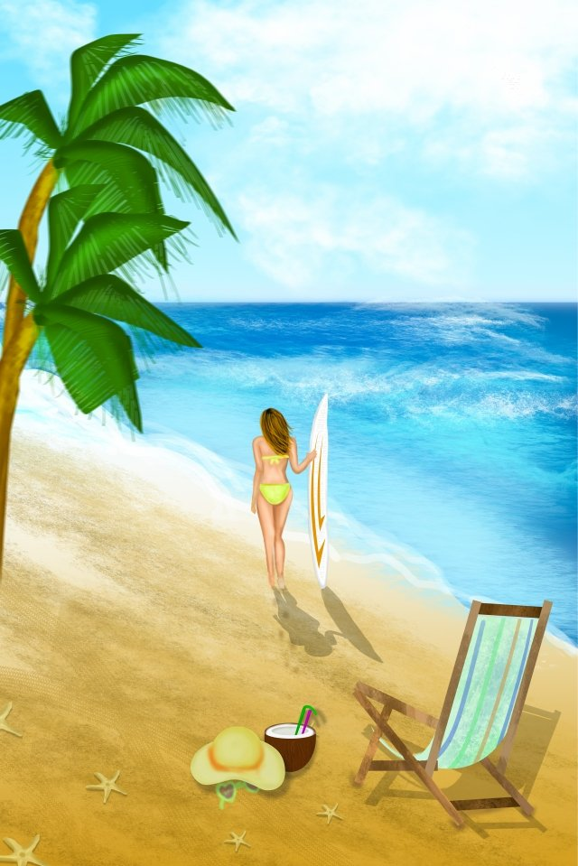 tourism midsummer vacation seaside illustration image