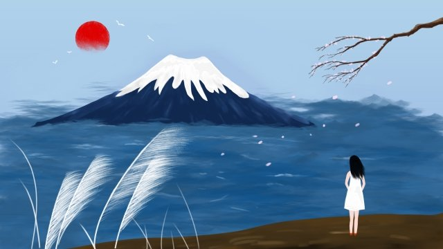 観光マウント富士桜純粋な手描き イラスト素材 イラスト画像