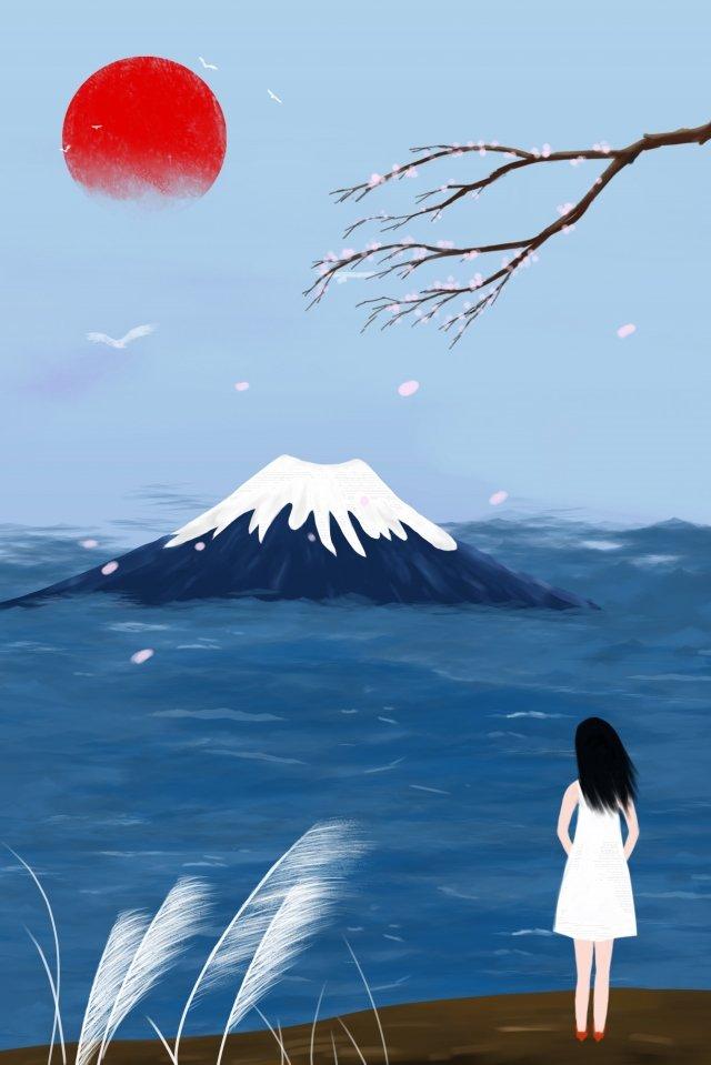 観光マウント富士桜純粋な手描き イラスト素材