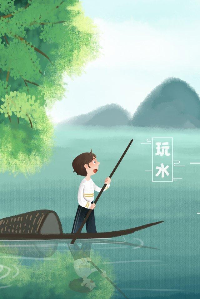 観光旅行ボート旅行 イラスト素材