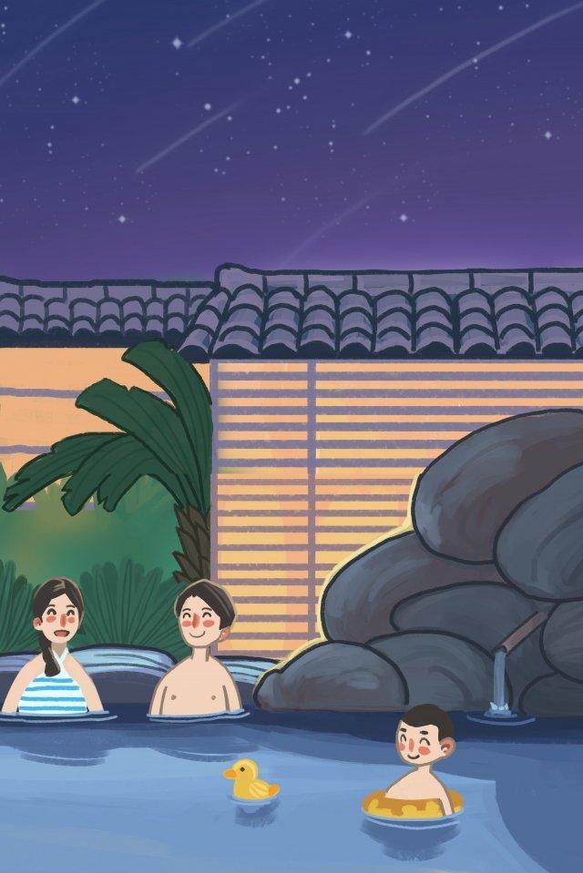 観光旅行休暇温泉 イラスト画像