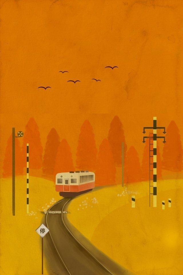 track train wild goose autumnal illustration image