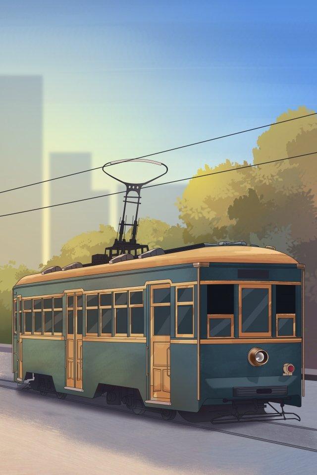 движение трамвай далянь общественный транспорт Ресурсы иллюстрации