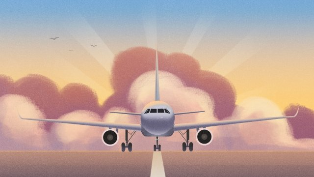 transportation aircraft landing flight llustration image