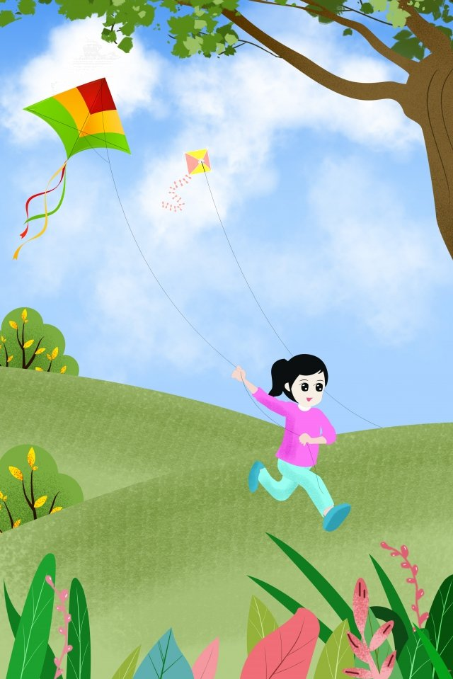 travel carnival season it fly a kite, Hillside, Grass, Big Tree illustration image