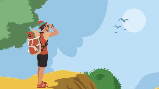 旅遊長假冒險旅遊 插畫素材