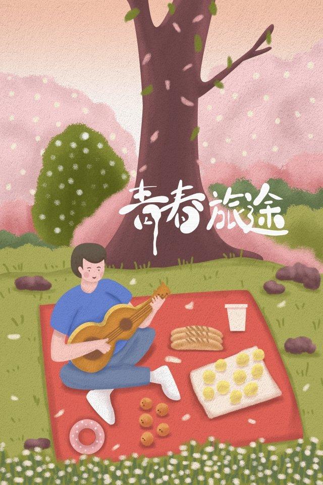 旅行音楽少年ピクニック イラストレーション画像