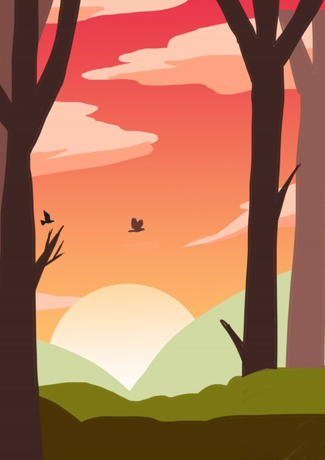 旅行観光アウトドアの森 イラスト素材