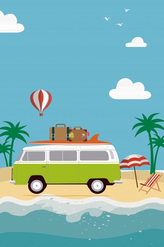 travel tourism summer vacation, Beach, Travel, Tourism illustration image