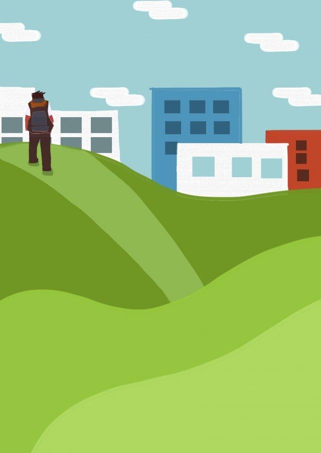 旅行者バックパック市草原 イラストレーション画像 イラスト画像