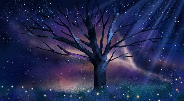 tree night night view dream, Hand Painted, Cartoon, Literary illustration image