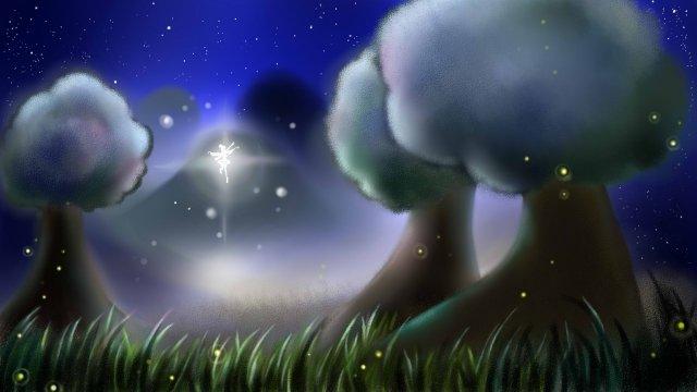 나무 밤하늘 엘프 별빛 그림 이미지 일러스트레이션 이미지