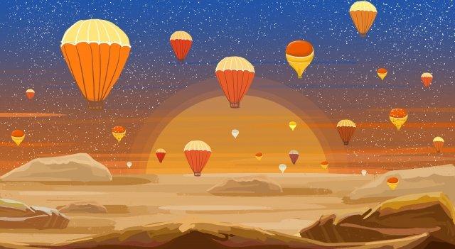 土耳其熱氣球日出日落 插畫素材
