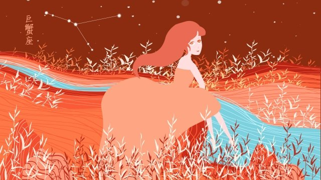 twelve constellations constellation cancer starry sky, Girl, Shrimp Pink, Flowers illustration image