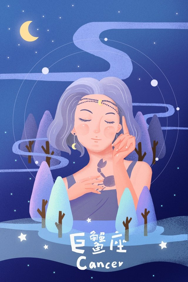 twelve constellations constellation cancer teenage girl illustration image