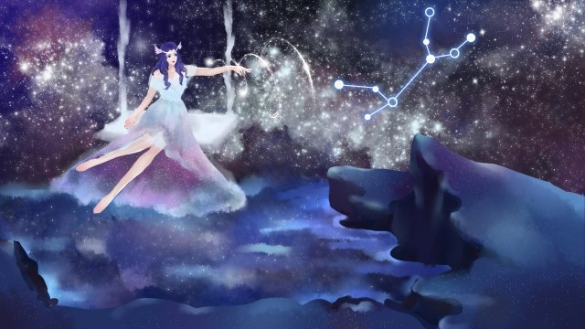 twelve constellations virgo starry sky virgo anthropomorphism llustration image