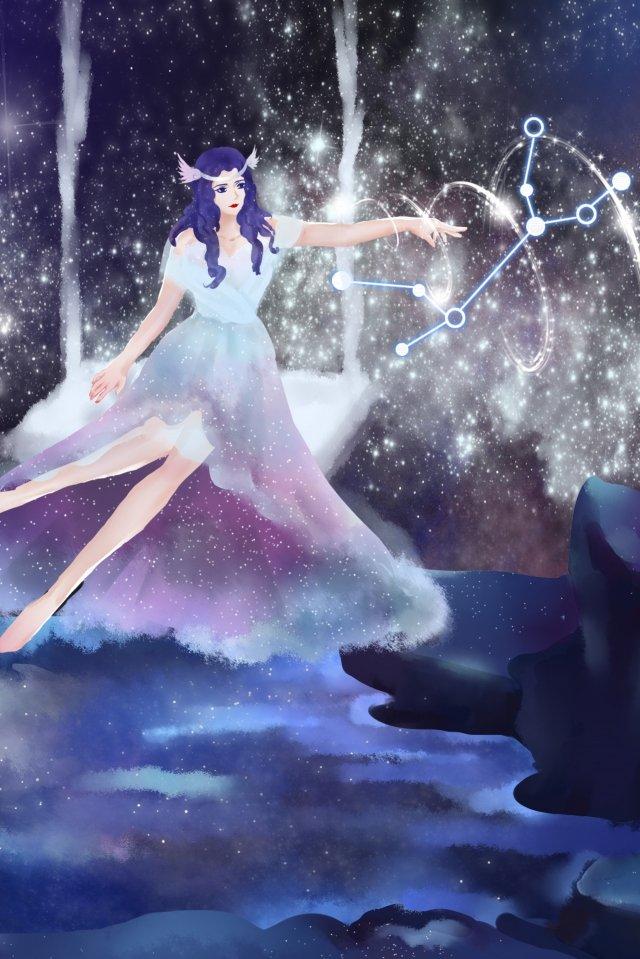 dua belas buruj virgo starry sky virgo anthropomorphism imej keterlaluan