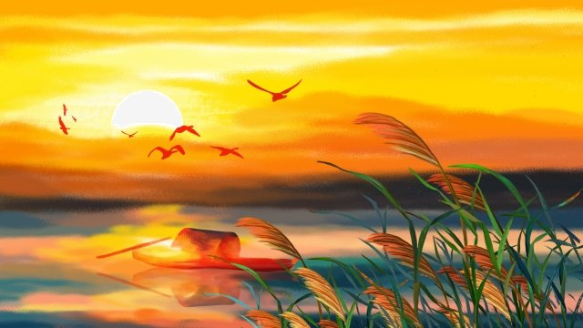 twenty-four solar terms autumnal lakeside sunset glow, Sunset, Wild Goose, Reed illustration image