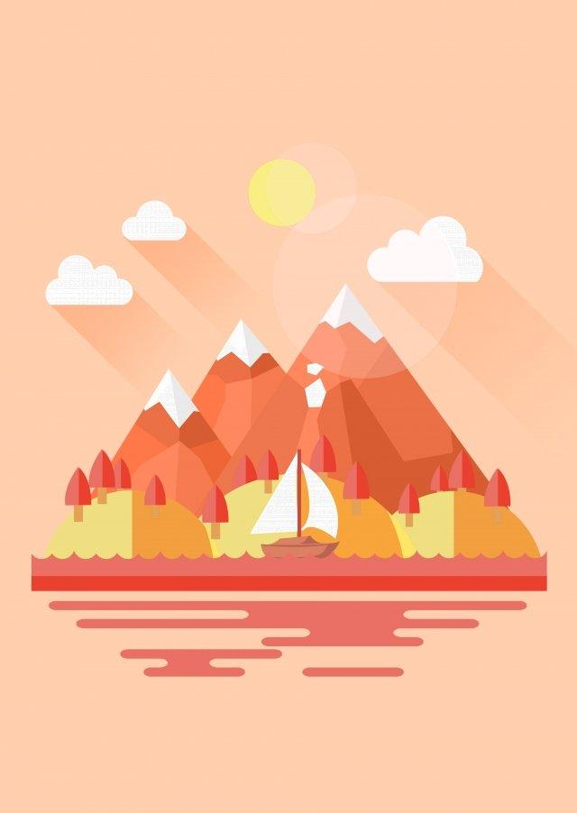 二十四節氣開始於秋季山區河流 插畫圖片