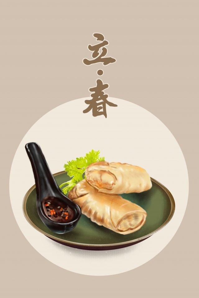 春の食べ物春巻きの24の太陽用語の始まり イラスト素材 イラスト画像