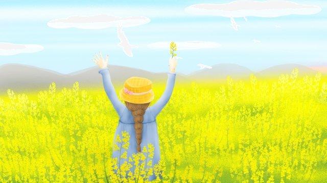 二十四太陽期春の始まり菜の花 イラスト素材