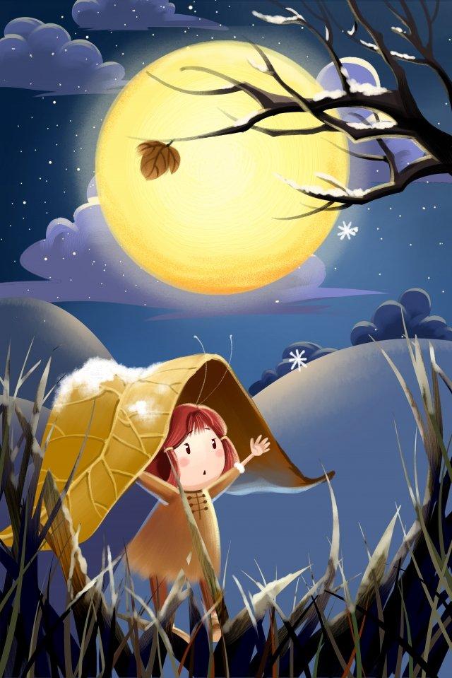 vinte e quatro termos solares início de termos solares de inverno menina Material de ilustração Imagens de ilustração