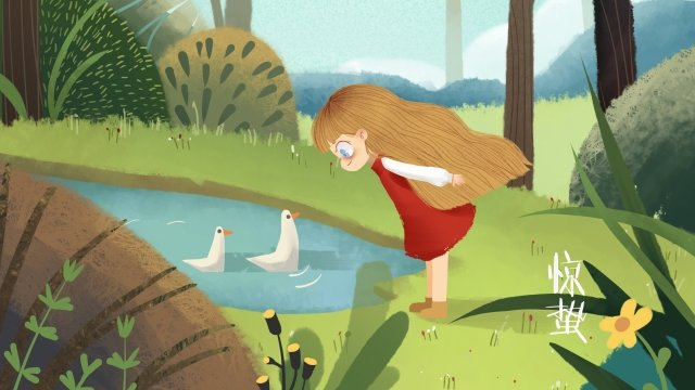 二十四節氣恐怖春風微風鵝 插畫素材
